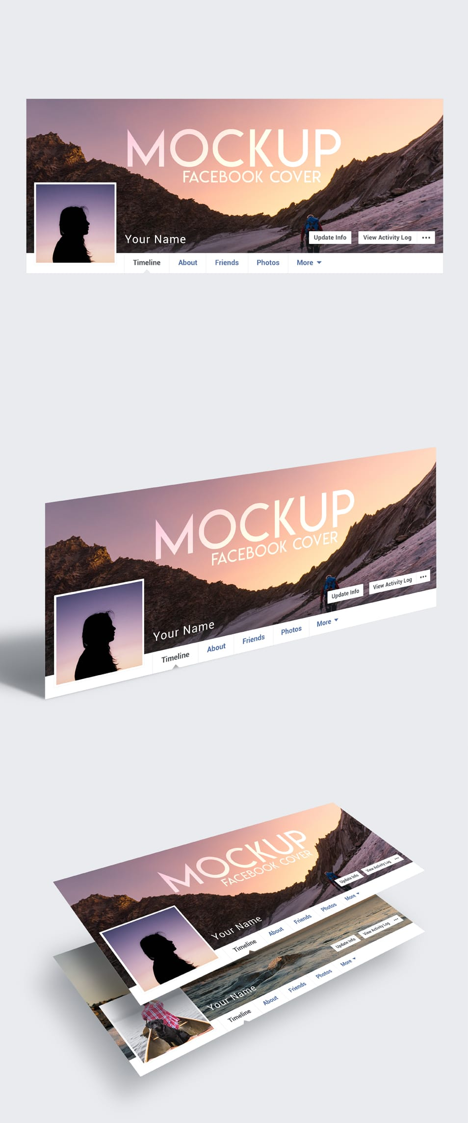 3 Free Facebook Cover Mock-ups in PSD FREE download
