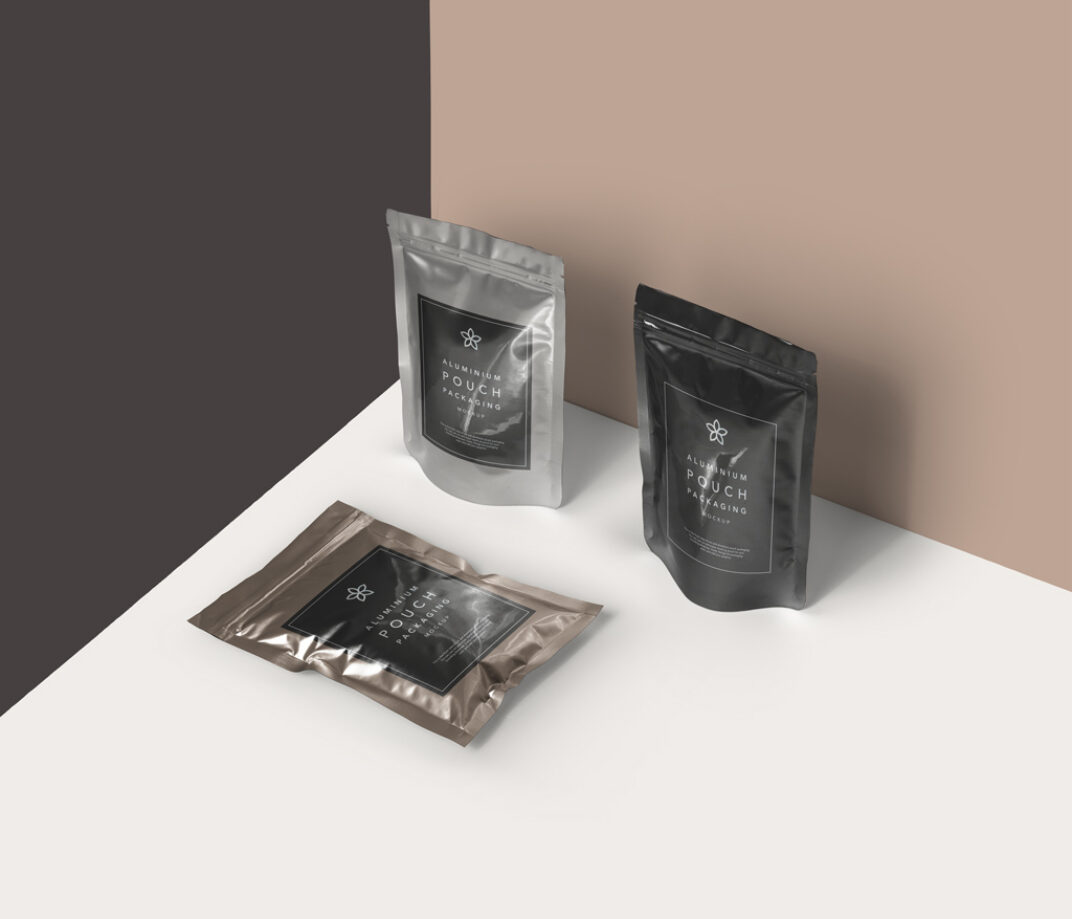 Aluminium Pouch Packaging Mockup FREE download