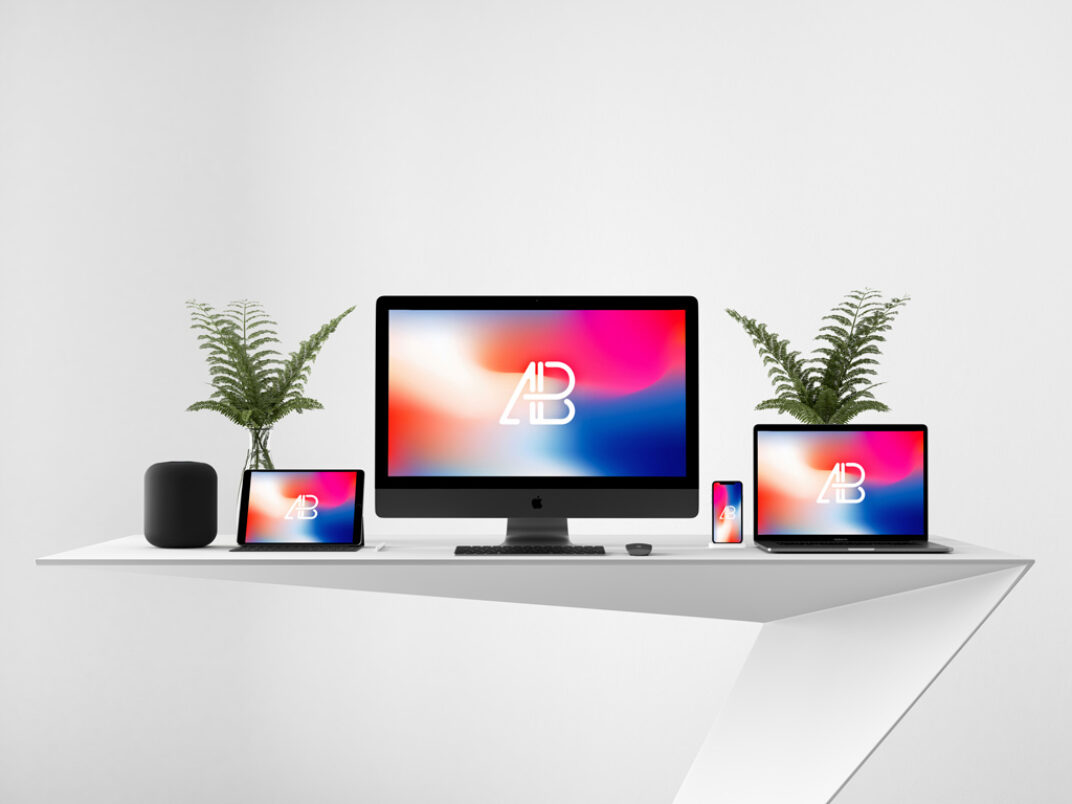Apple Devices on Desk Mockup FREE download