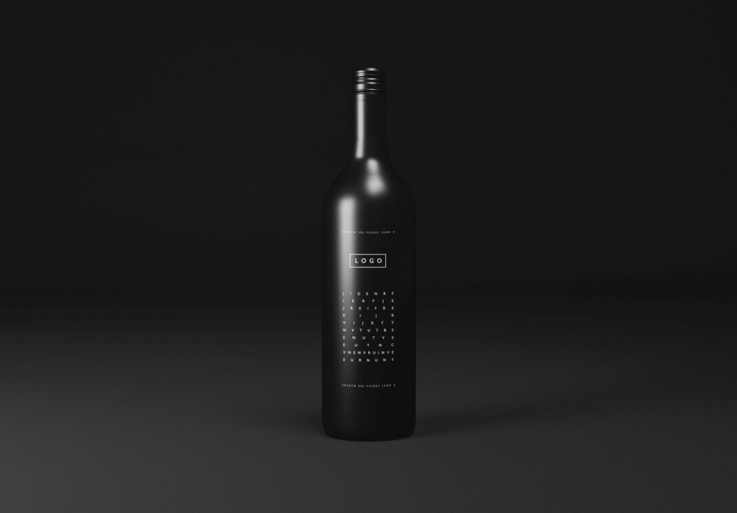 Black Wine Bottle Mockup FREE download