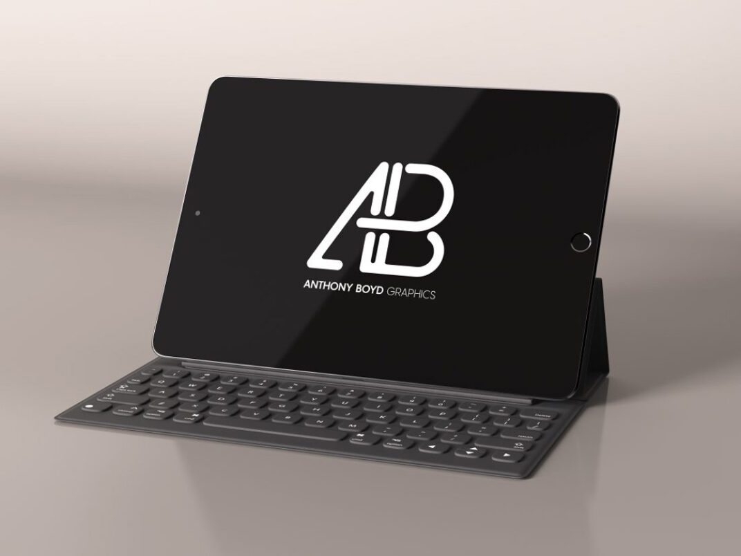 Black iPad with Keyboard Mockup FREE download