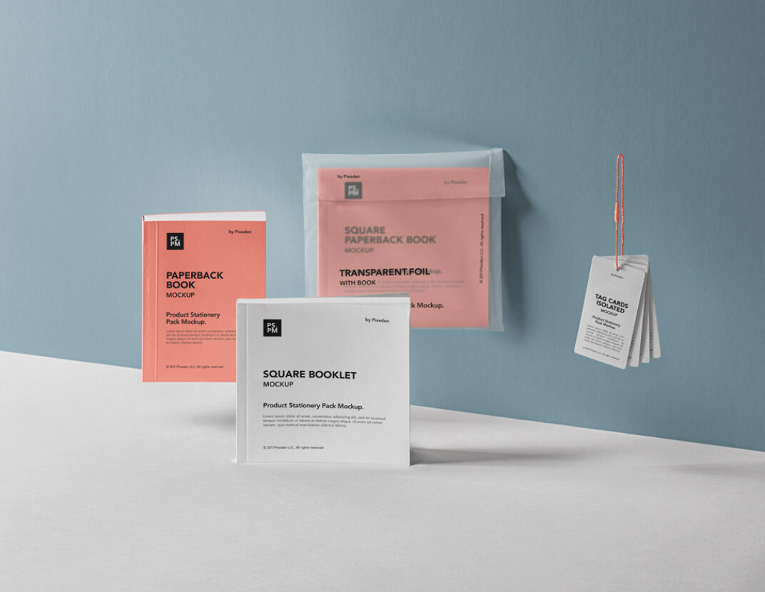 Booklets and Tag Cards Mockup FREE download