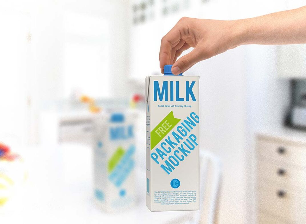 Bundle of Milk Carton Mockups FREE download