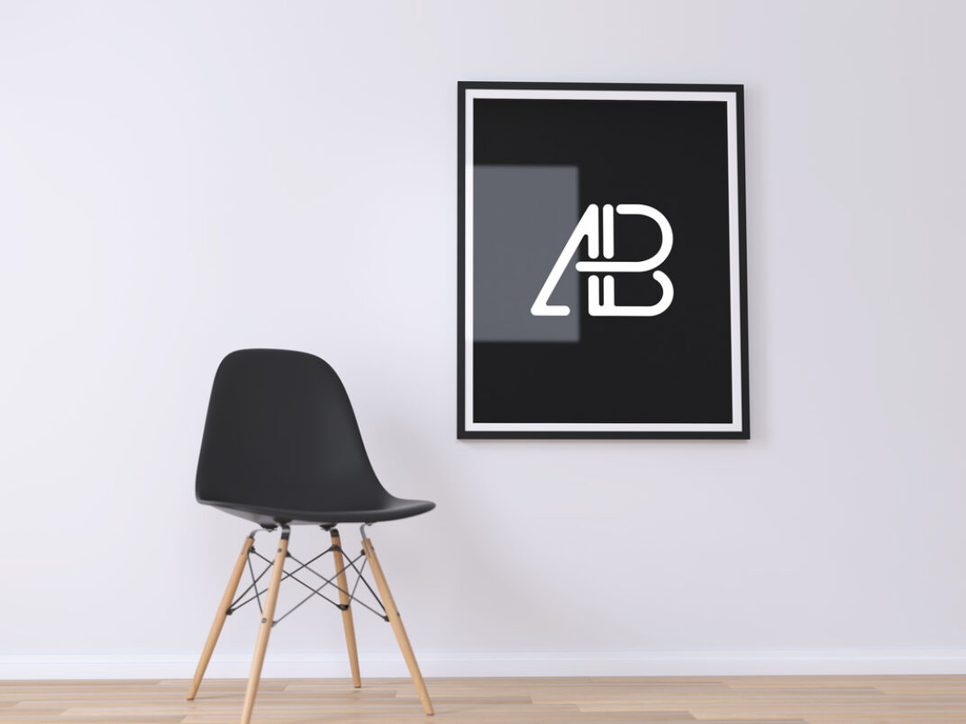 Chair and Image Frame Mockup FREE download