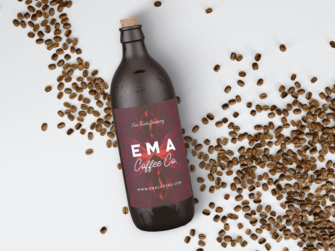 Coffee Bottle with Decorations Mockup FREE download