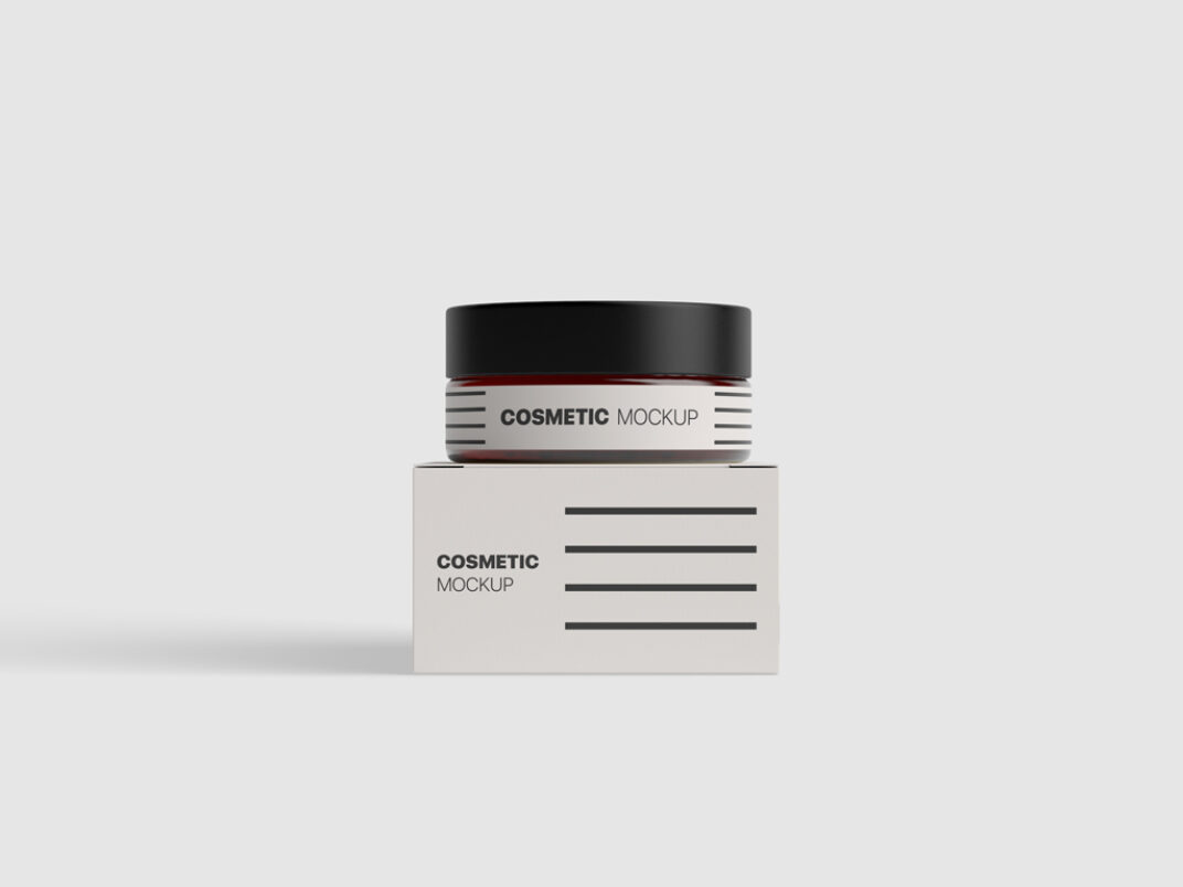 Cosmetic Jar with Box Mockup FREE download