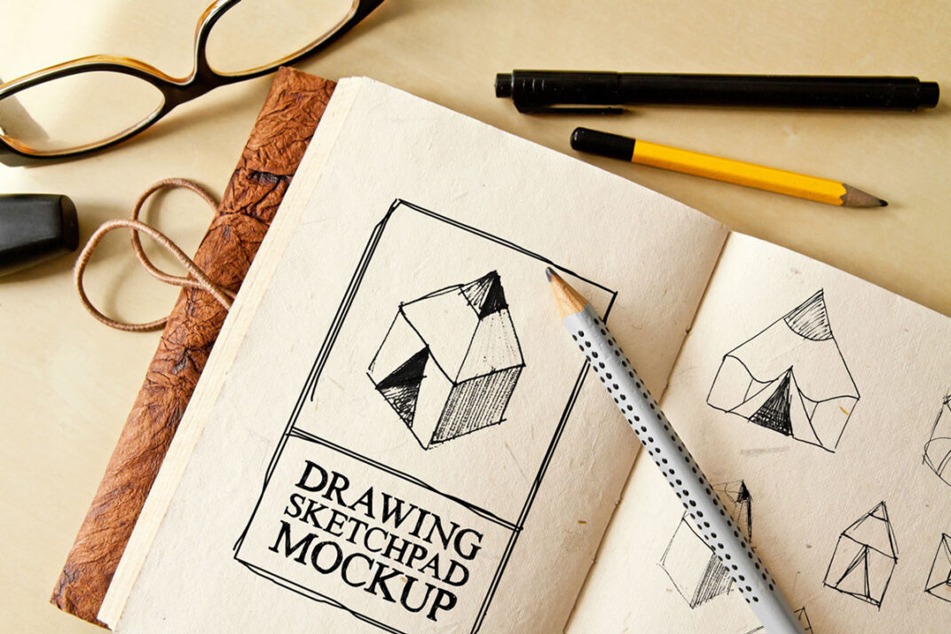 Drawing Sketch-Pad (A5) Mockup FREE download