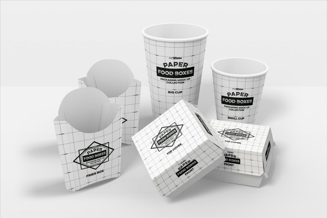 Fast Food Packaging (Boxes and Cups) Mockup FREE download