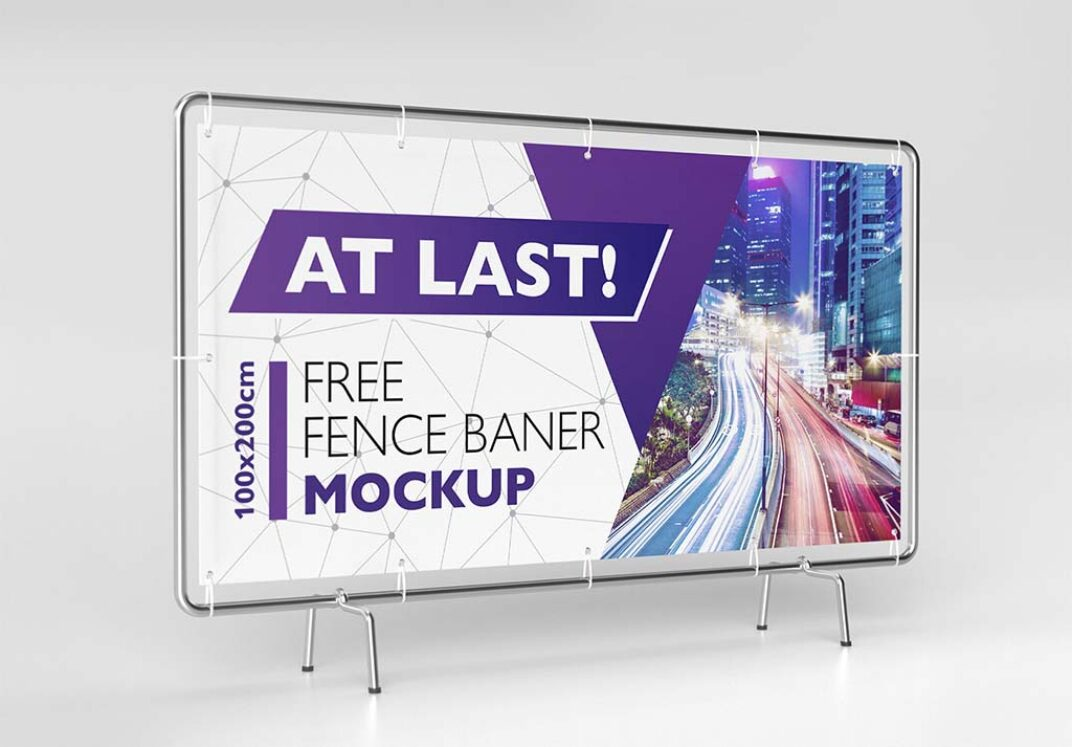 Fence Banner Mockup Set FREE download