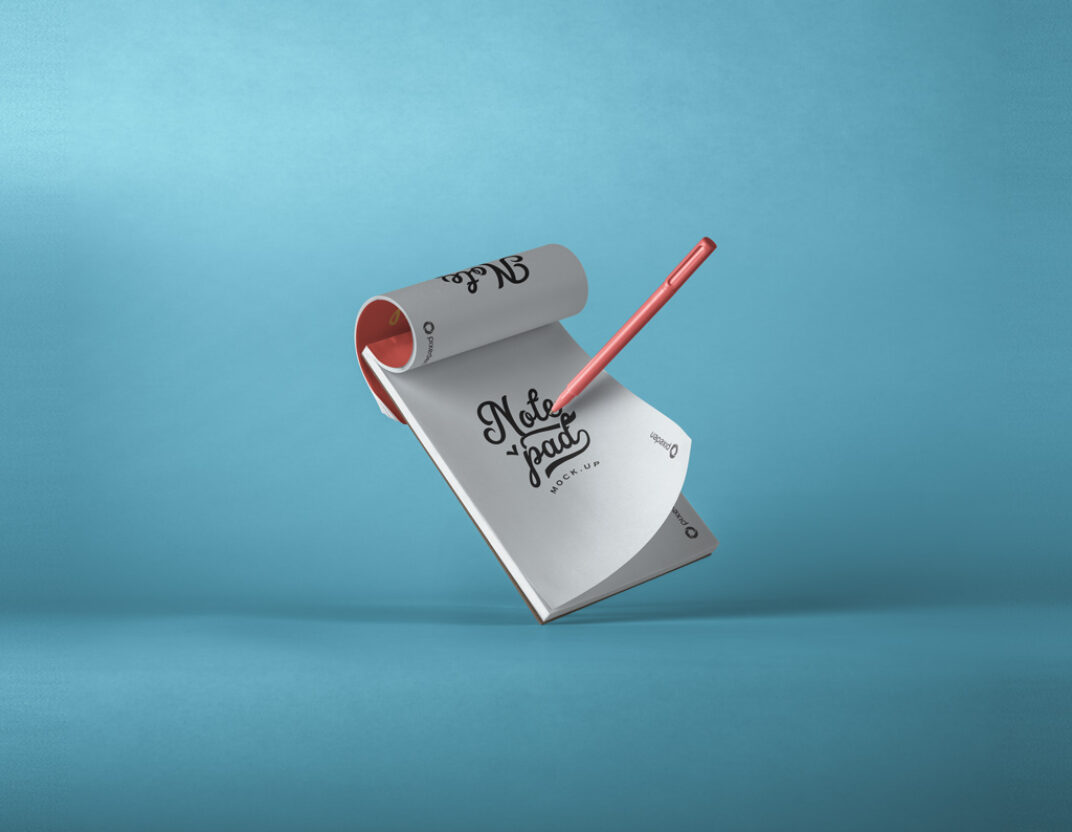 Floating Notepad with Pen Mockup FREE download