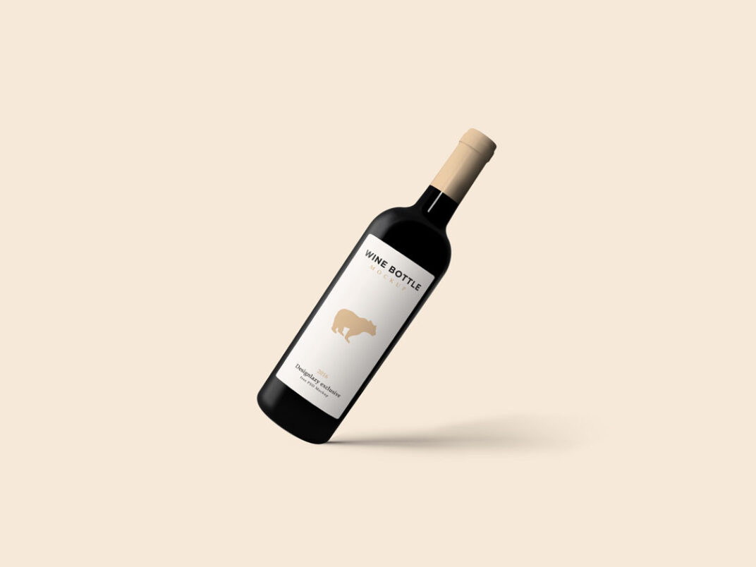 Floating Red Wine Bottle Mockup FREE download