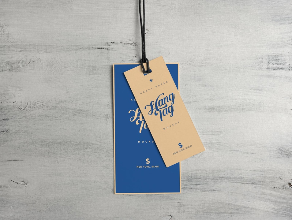 Free Dual Cloth Hanging Tag Mockup PSD FREE download