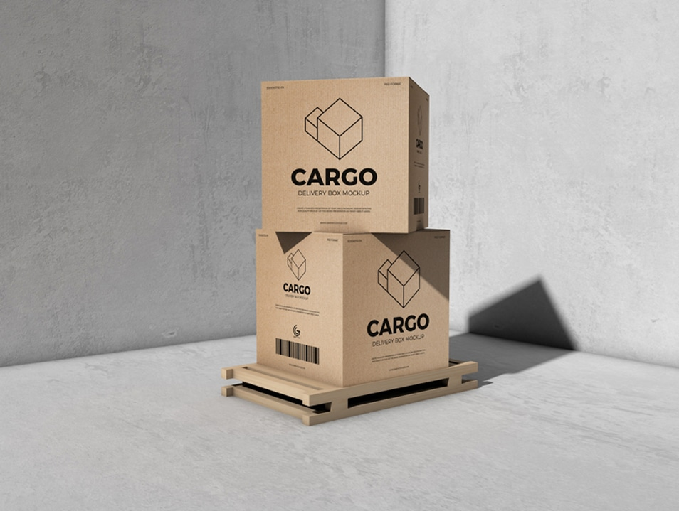 Free Packaging Cargo Delivery Box Mockup FREE download