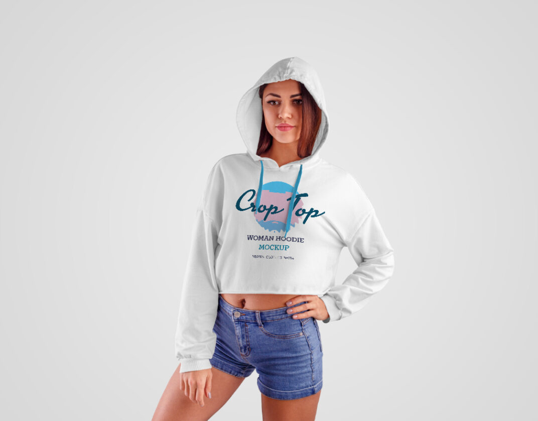 Girl wearing Crop-Top Hoodie Mockup FREE download