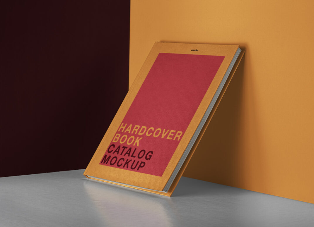 Hardcover Book leaning against Wall Mockup FREE download