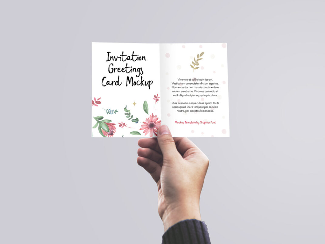 Holding Invitation Card Mockup FREE download