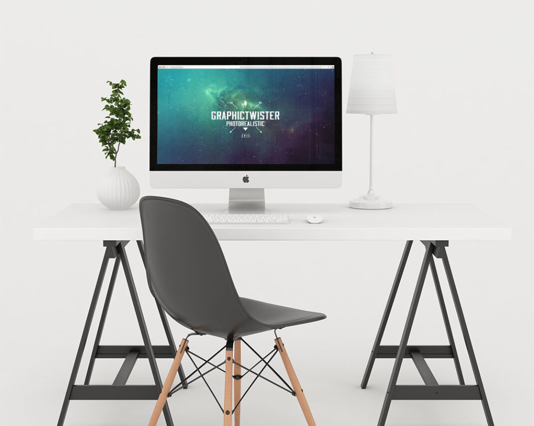 Home Office with iMac Mockup FREE download