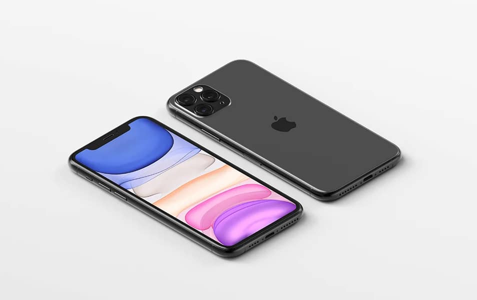 Isometric iPhone 11 Pro Max Mockup FREE download