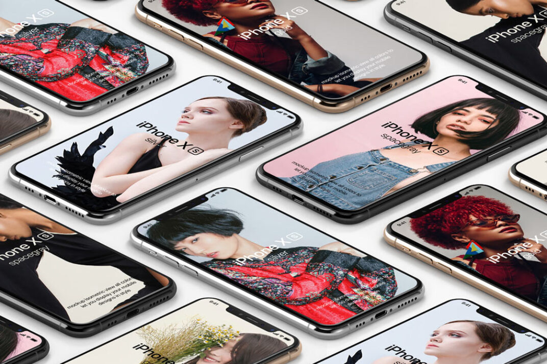 Isometric iPhone XS Showcase Mockup FREE download