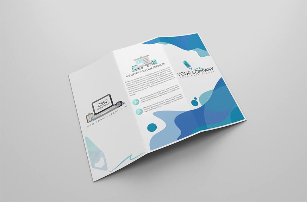 Layered trifold Brochure Mockup FREE download