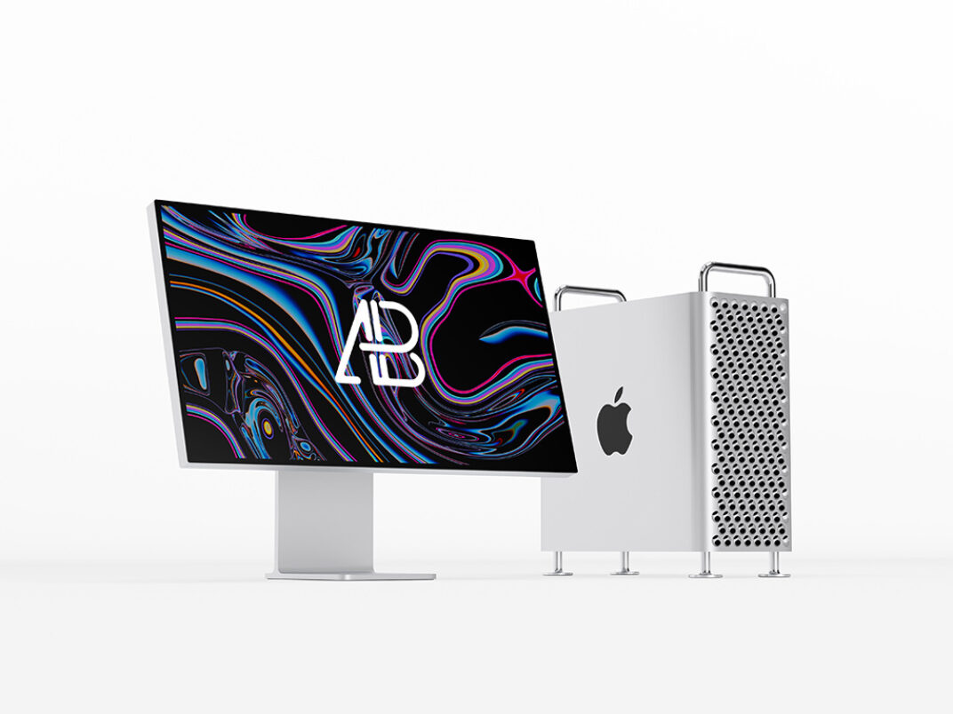 Mac Pro and Apple Pro Display XDR Mockup FREE download