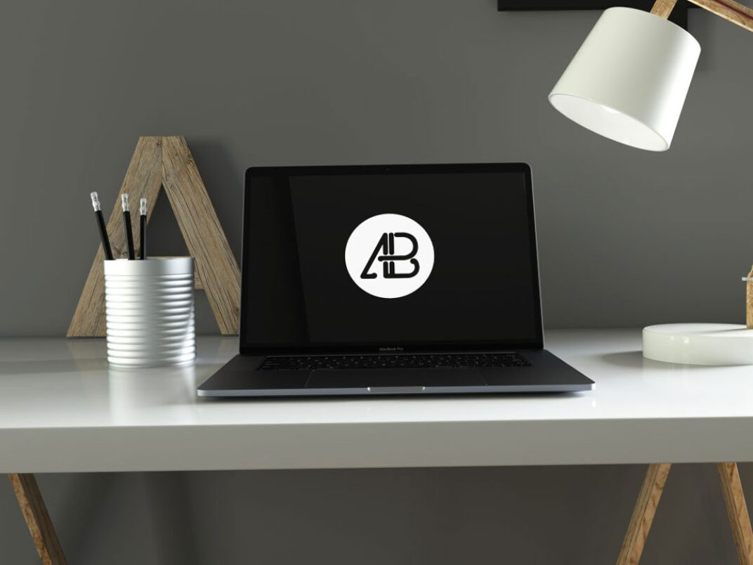 MacBook Pro in Home Office Mockup FREE download