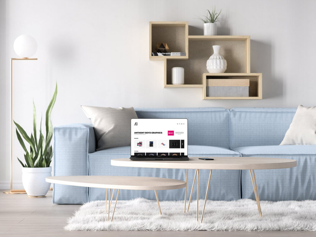 MacBook Pro in a Living Room Mockup FREE download