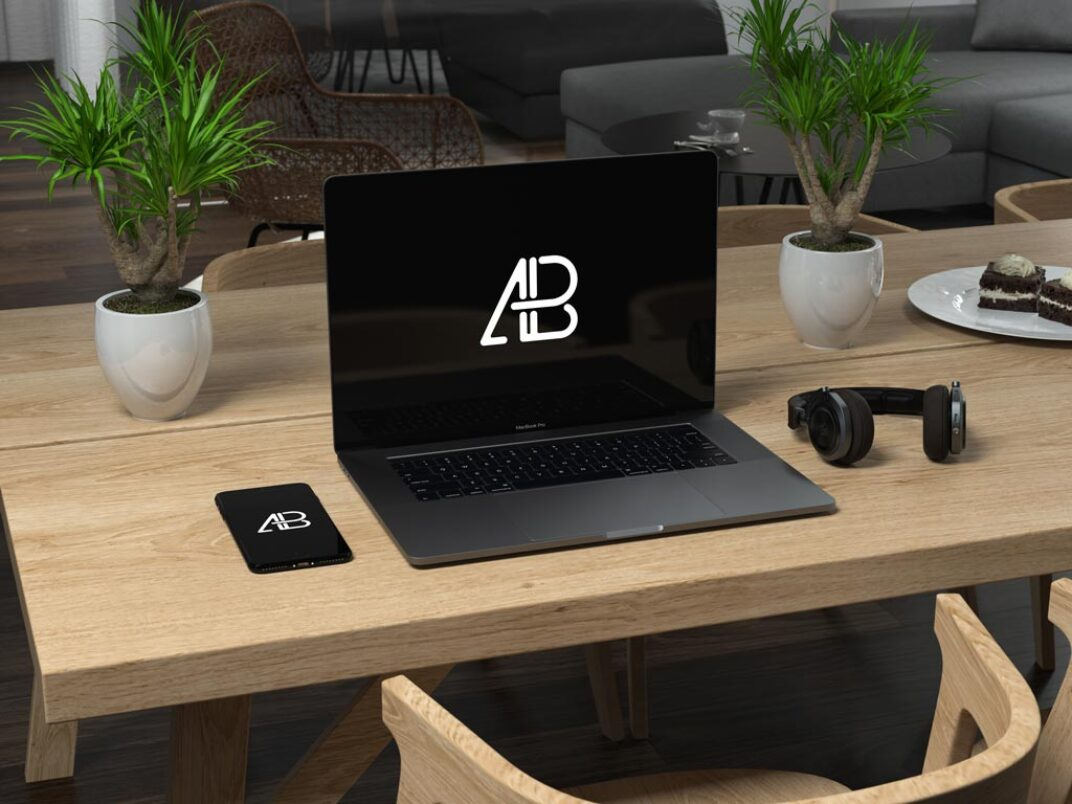 MacBook and iPhone on Table Mockup FREE download
