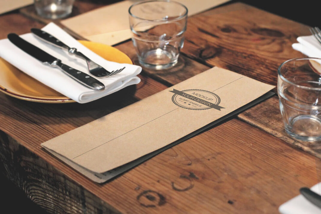 Menu Card on Table Mockup FREE download