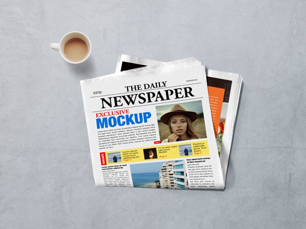 Newspaper Front Page Mockup FREE download