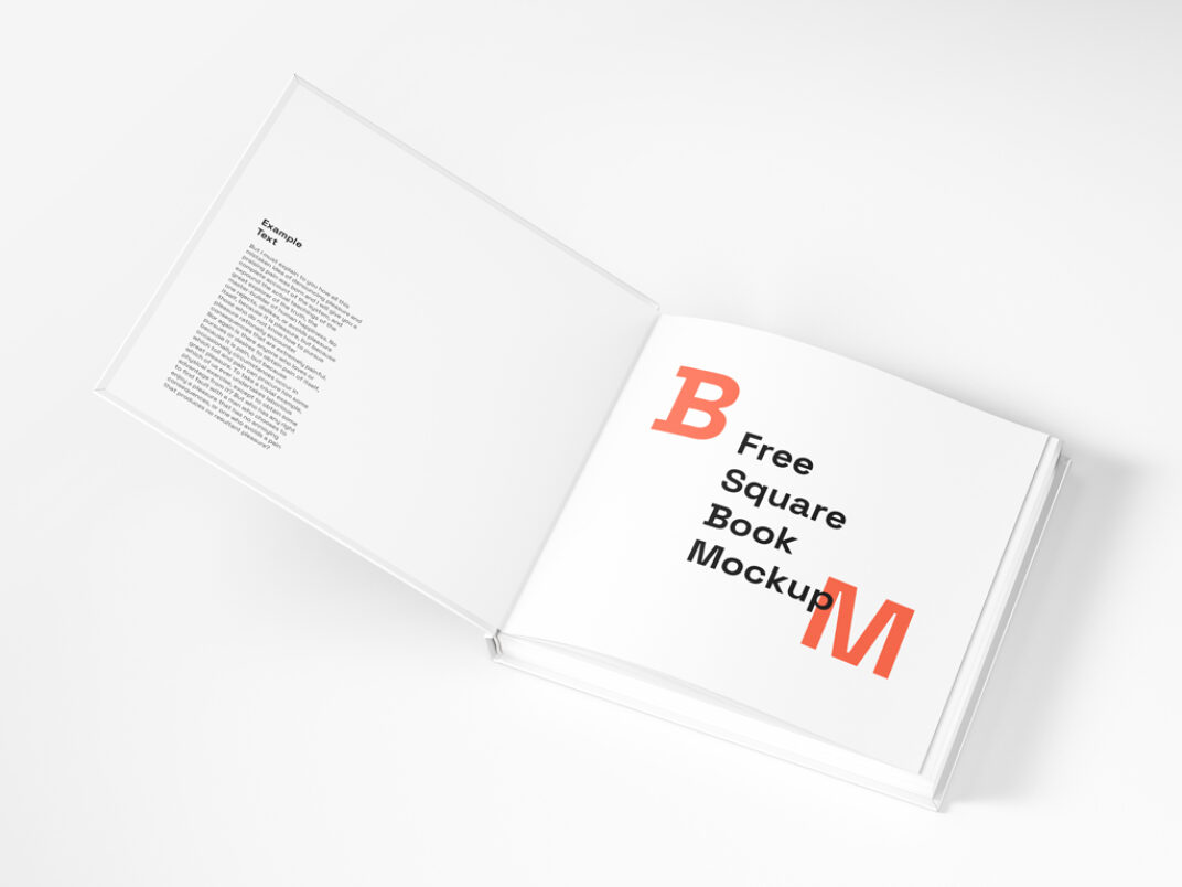Open Square Book Mockup FREE download