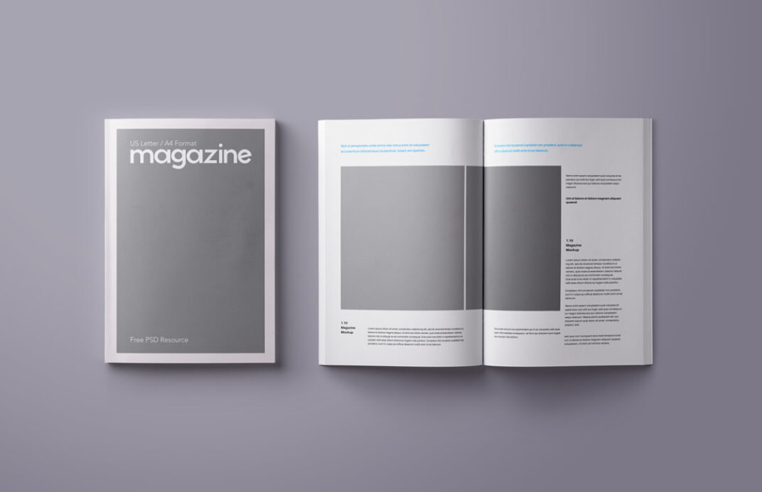 Open and closed Magazine (A4 / US letter) Mockup FREE download