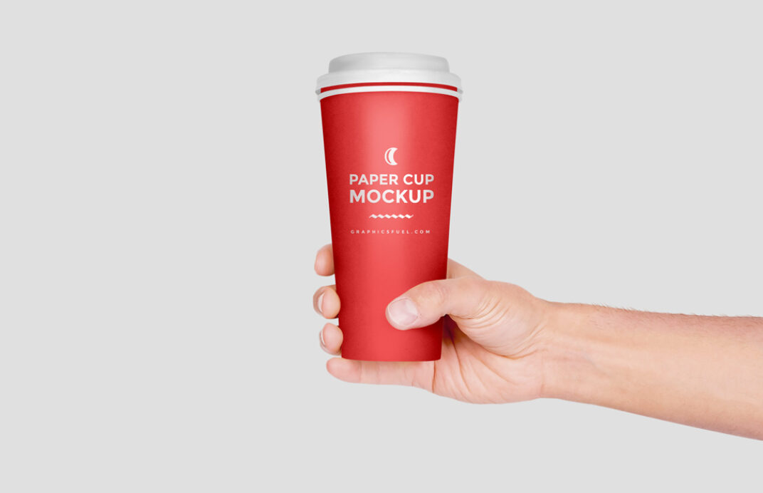 Paper Cup in Hand Mockup FREE download