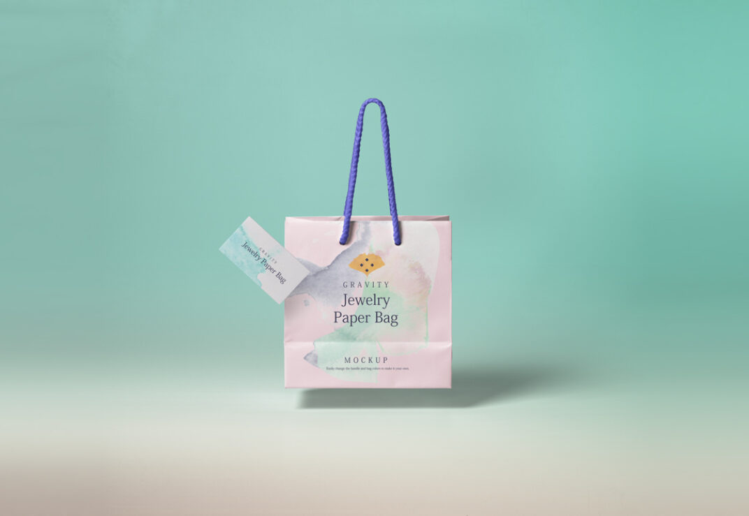 Paper Shopping Bag with Business Card Mockup FREE download