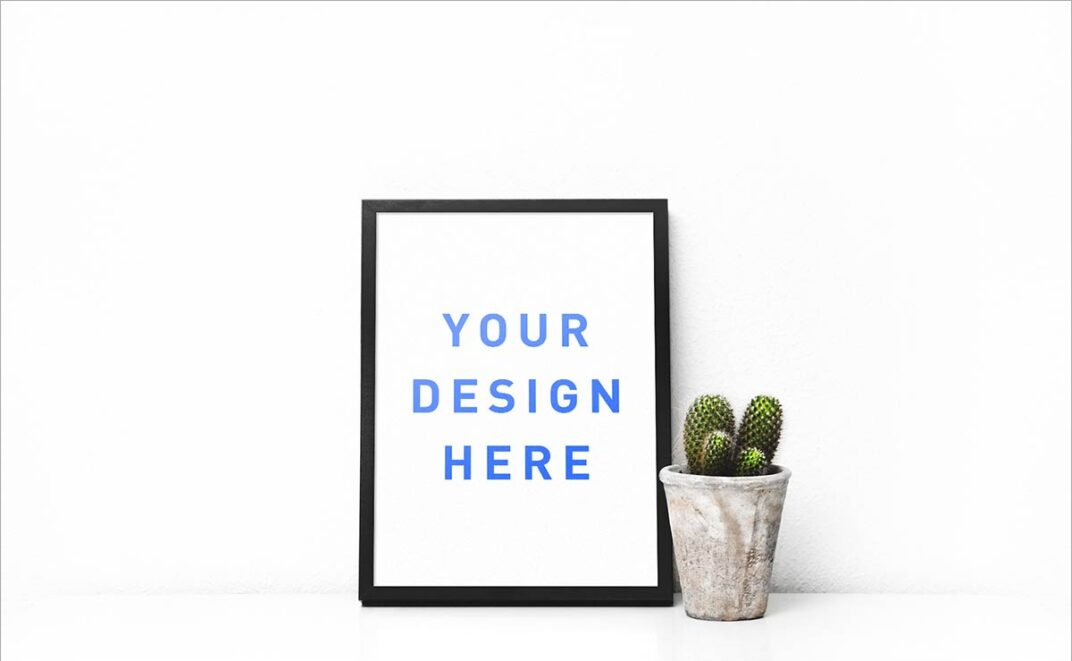 Picture Frame  (and Cactus) Mockup FREE download
