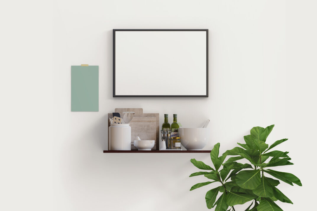 Picture Frame in Kitchen Mockup FREE download