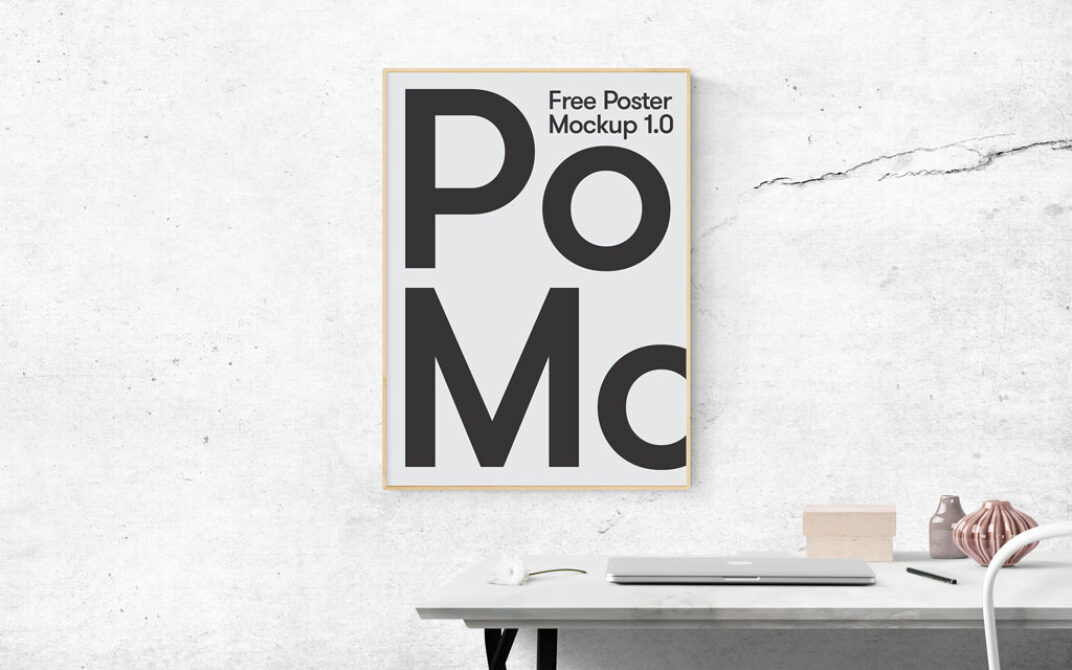 Poster on Office Wall Mockup FREE download
