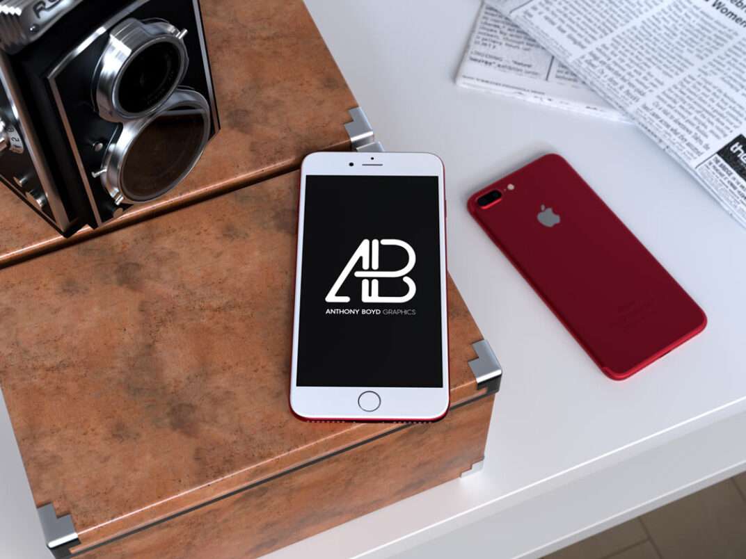 Red iPhone on Desk Mockup FREE download