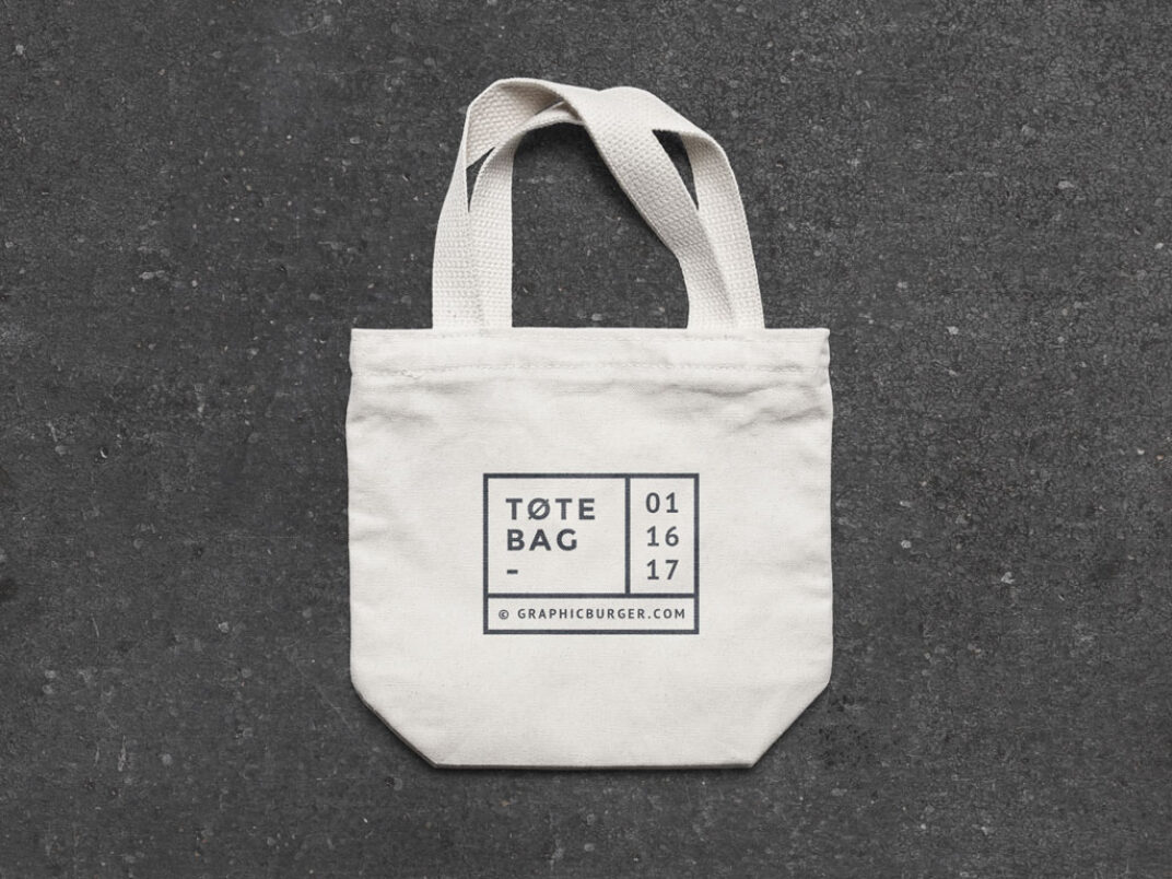 Small Canvas Tote Bag Mockup FREE download