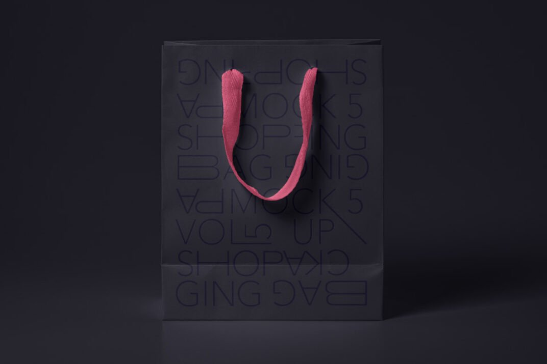 Standing Paper Shopping Bag Mockup FREE download