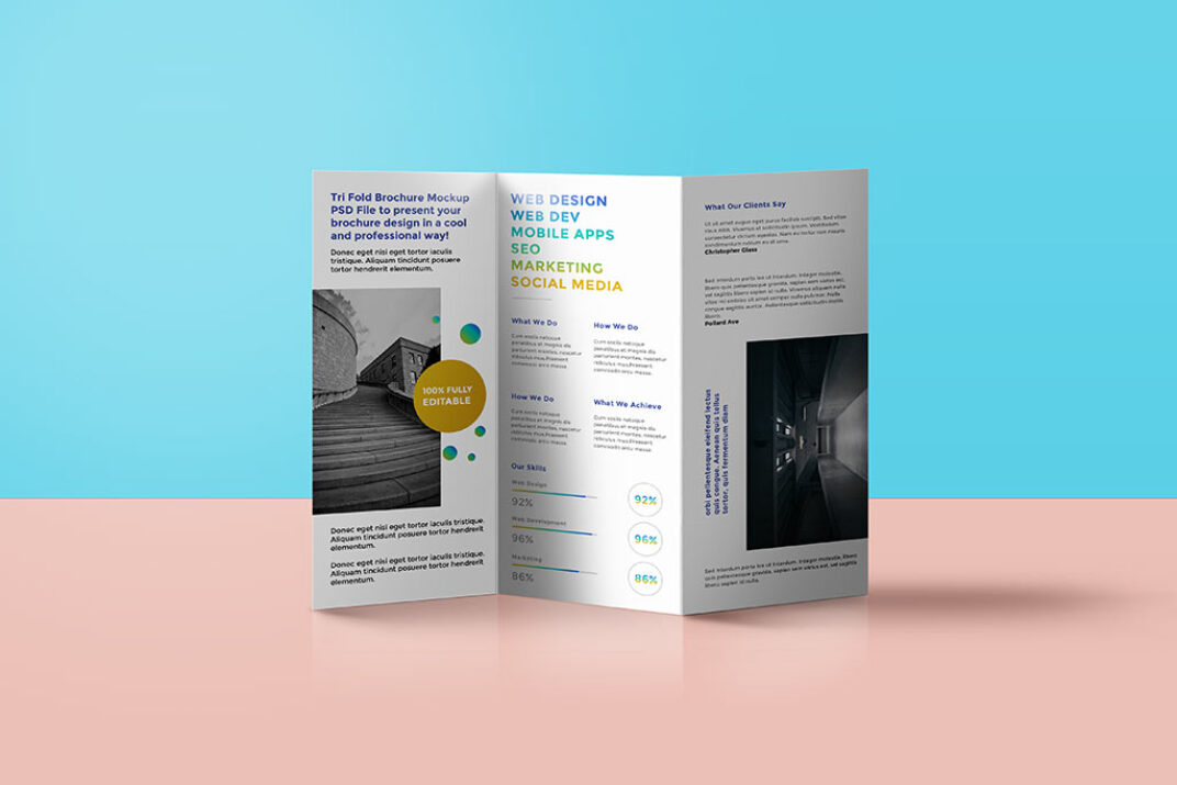 Standing trifold Brochure Mockup FREE download
