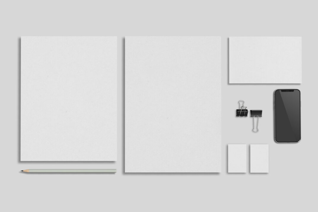 Stationery with MacBook and iPhone Mockup Set FREE download