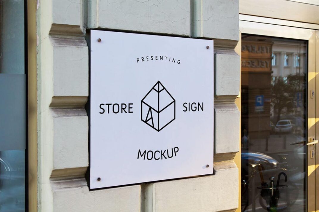Store Square Sign Mockup FREE download