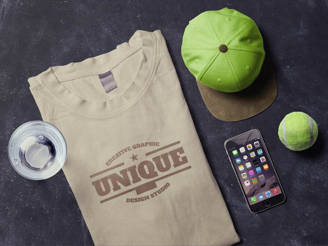 T-Shirt and iPhone Scene Mockup FREE download