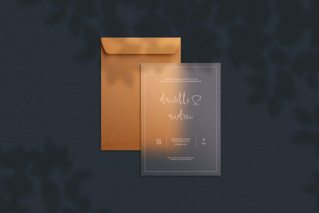 Translucent Invitation Card with Envelope Mockup FREE download