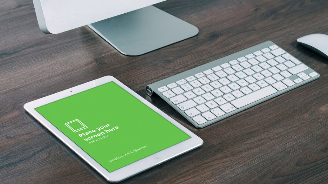 White iPad in Office Mockup FREE download