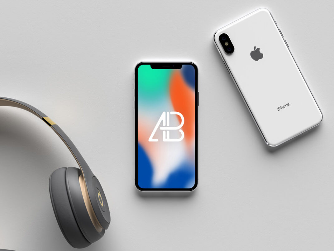 White iPhone X (front and back) Mockup FREE download