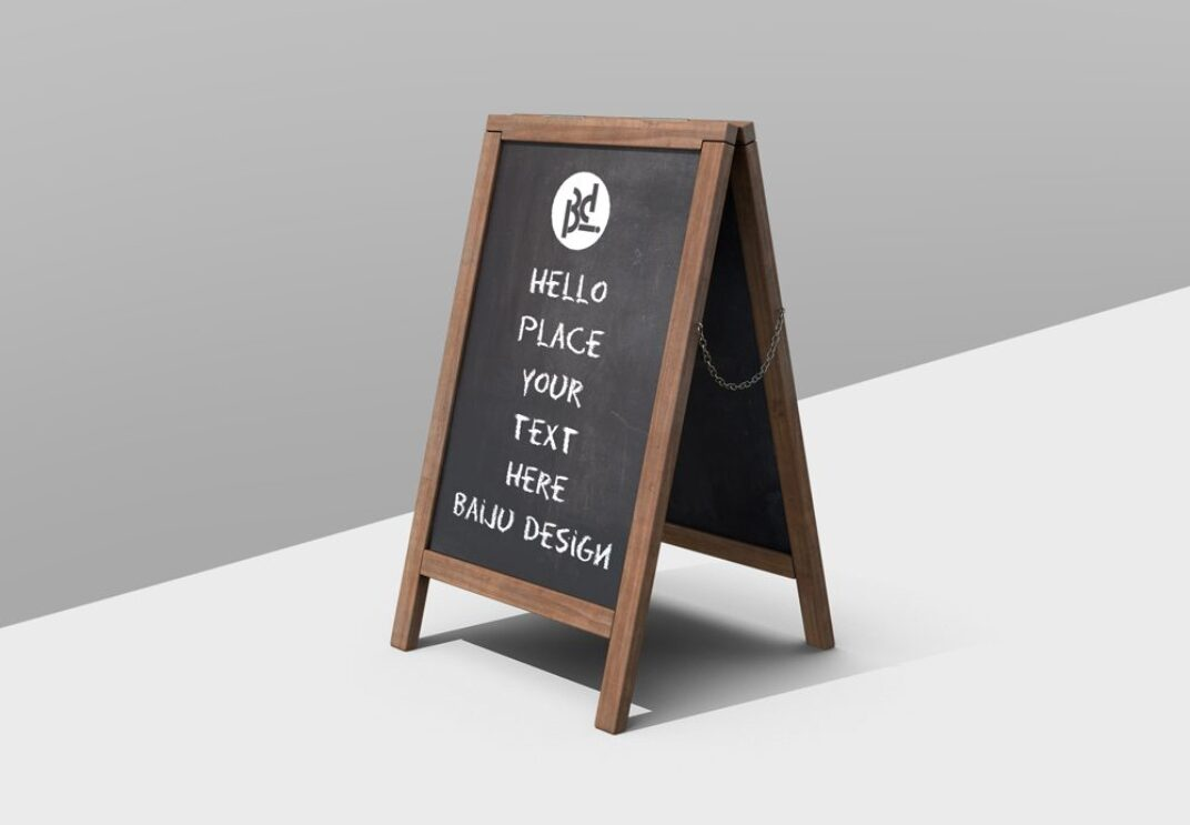 Wooden Sandwich Board Mockup FREE download
