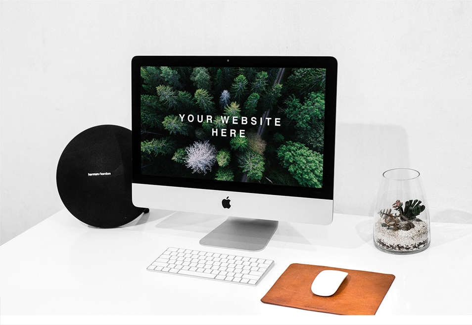 Workspace iMac PSD Mockup FREE download