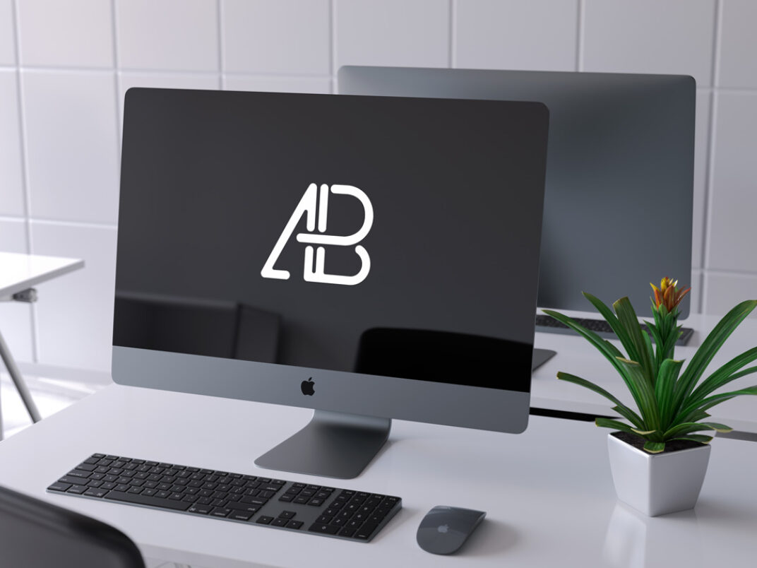 iMac Pro with Keyboard on a Table Mockup FREE download